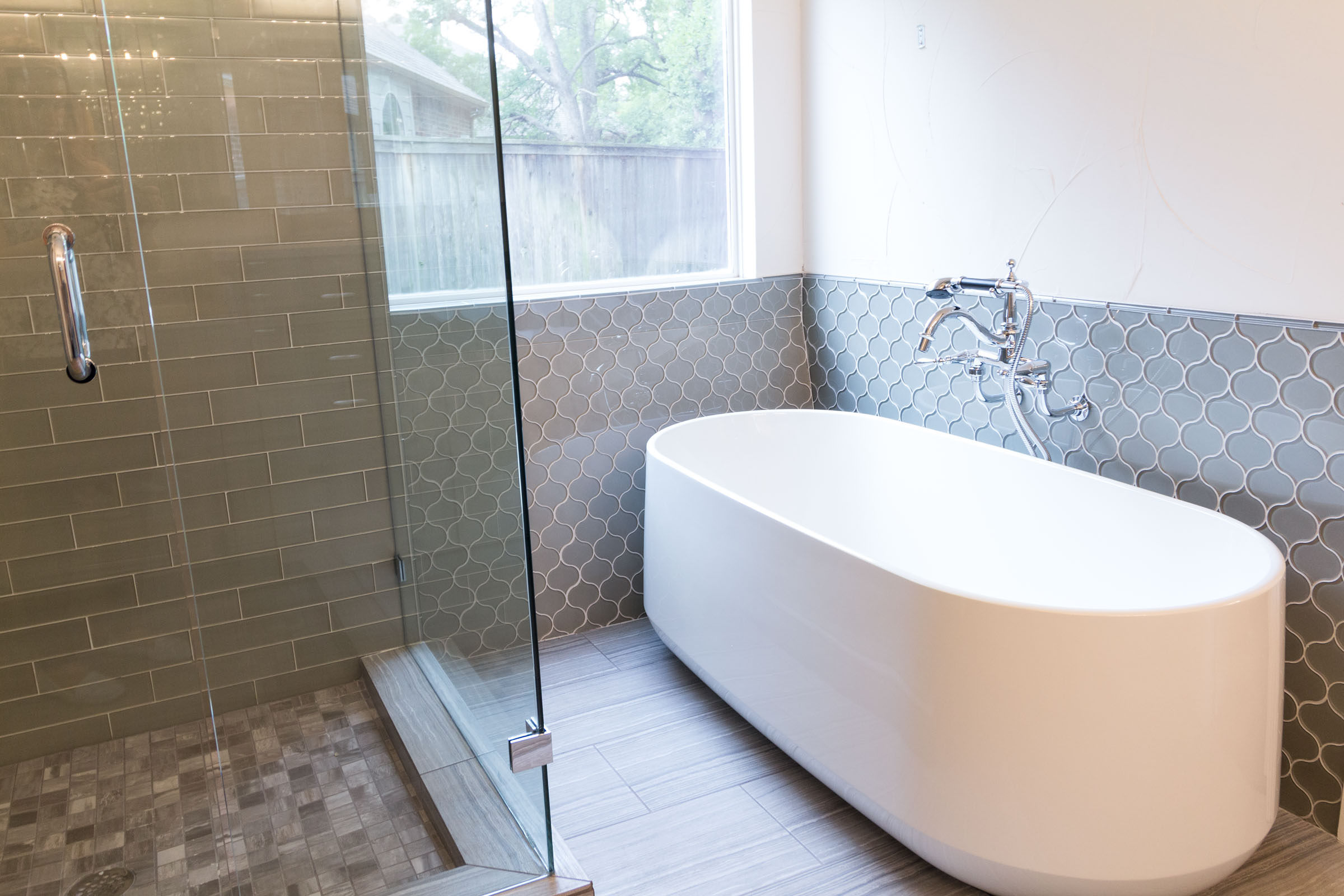 Bathroom Remodel bathtub detail shot white and grey