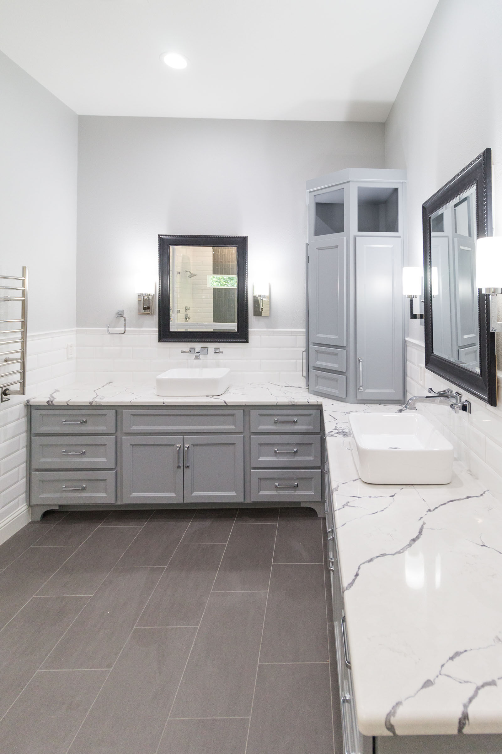 Contemporary bathroom remodel white granite, grey cabinets, clean and bright