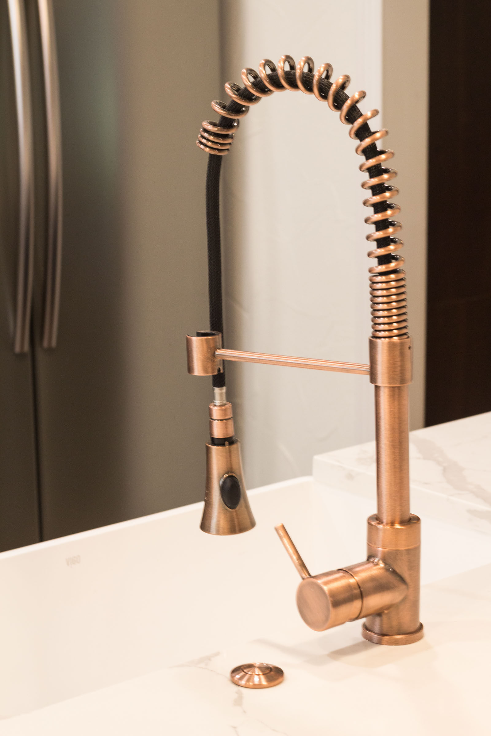 Copper swan neck sink faucet with built in disposal button