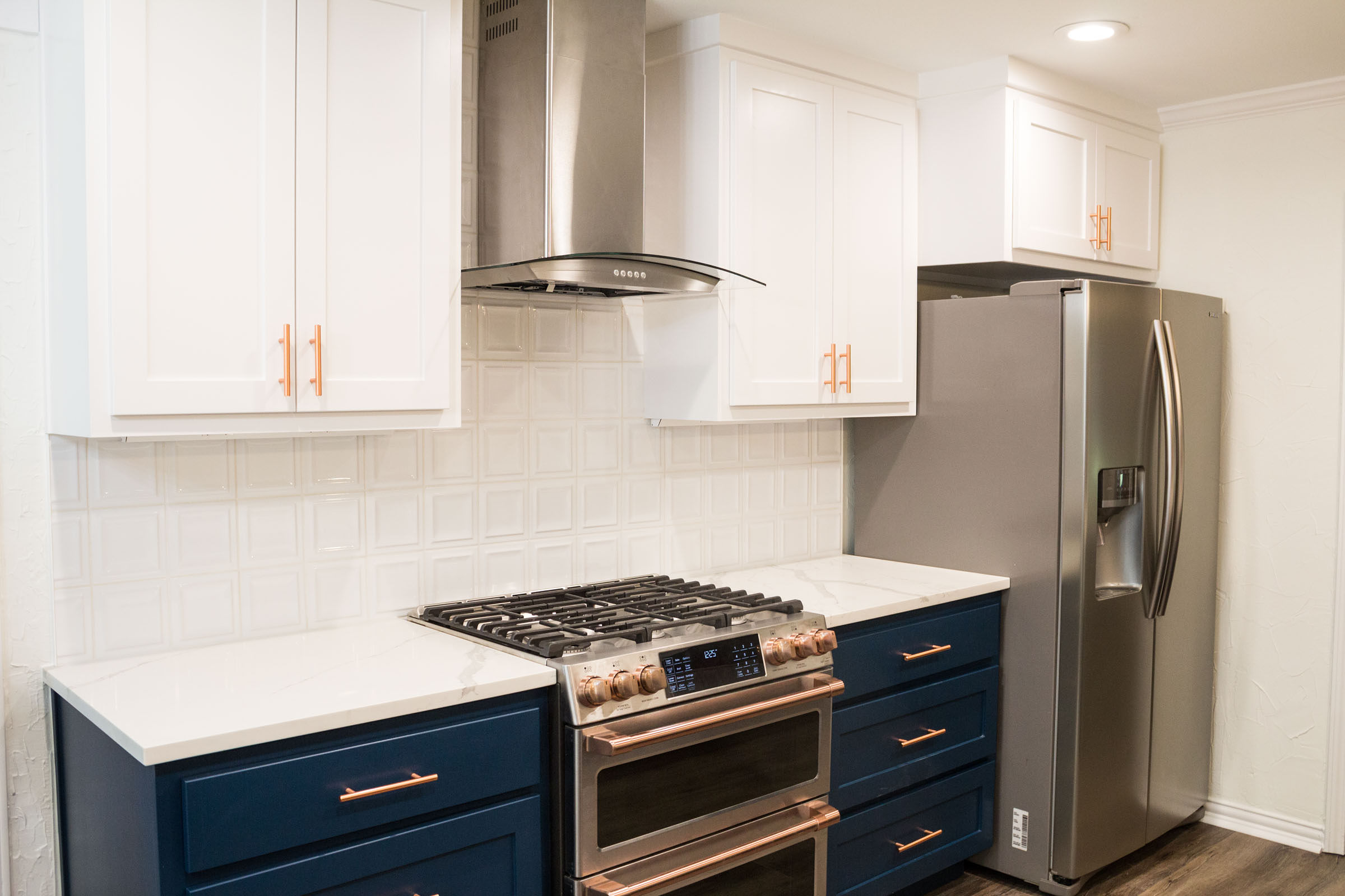 Navy and copper kitchen remodel photo shoot