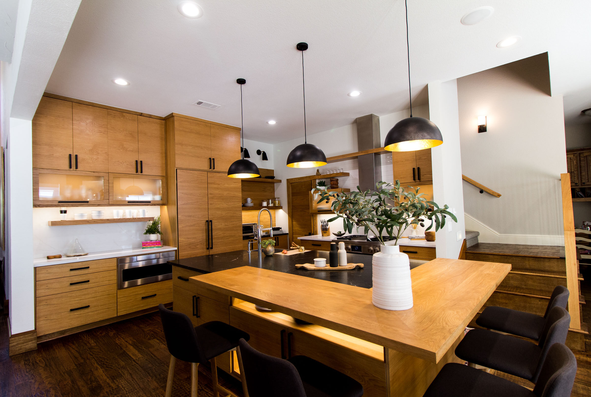Just the right angle to see the hidden storage areas of this beautiful kitchen island.