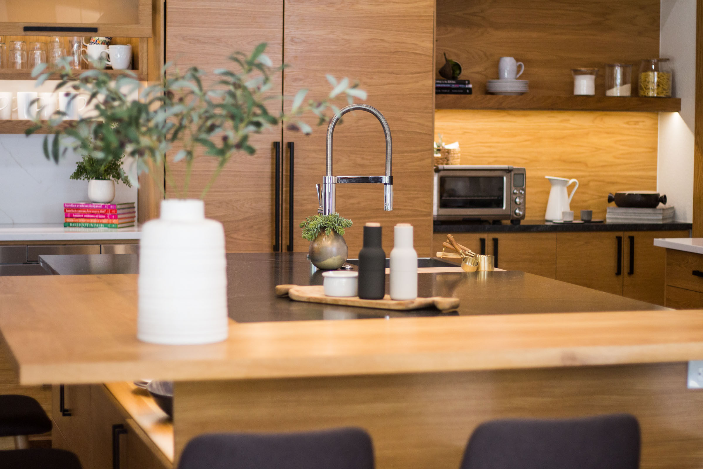 Out of focus shot of Scandinavian Kitchen Remodel, staged photo shoot with modern decor