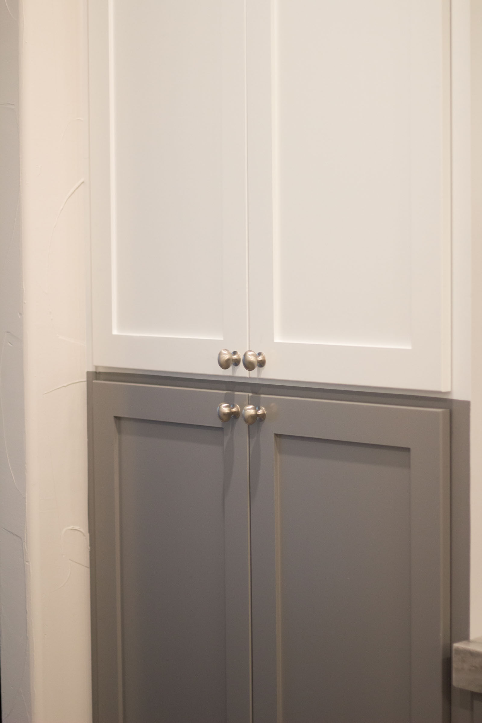 Grey and white multi color shaker kitchen cabinets remodeling project