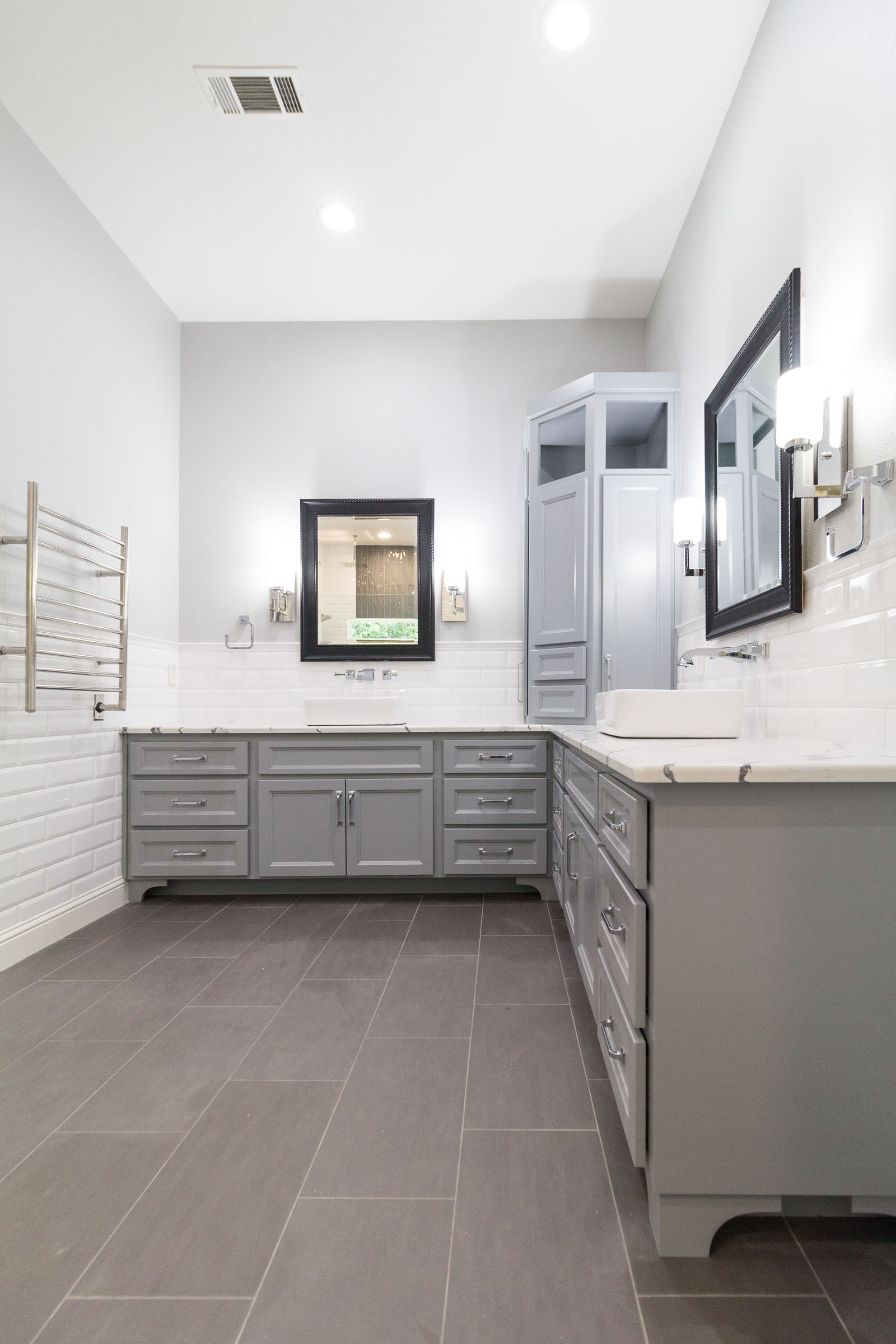 Contemporary bathroom remodel wide angle shot