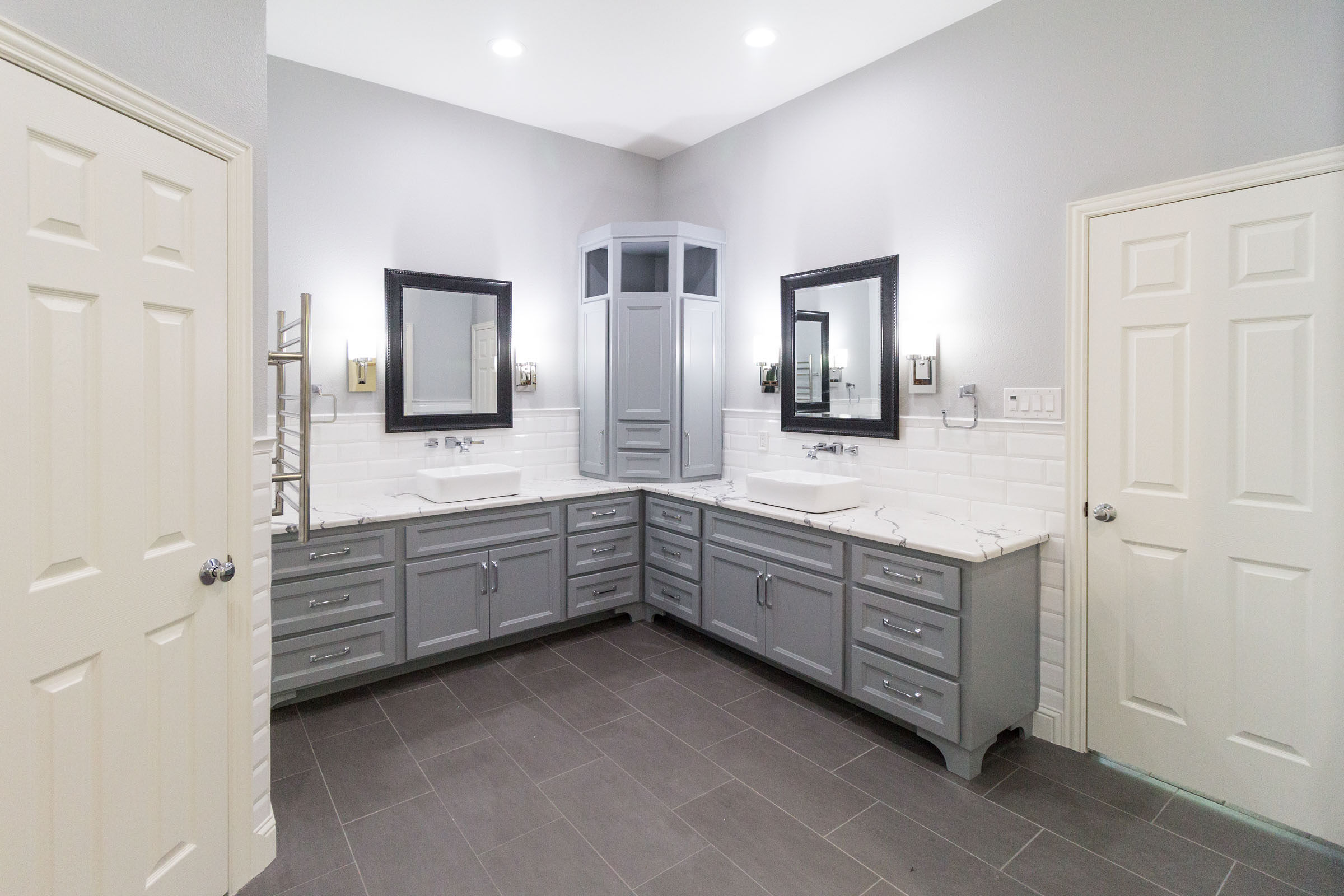 Bathroom remodel with grey and white features, contemporary style, clean and bright